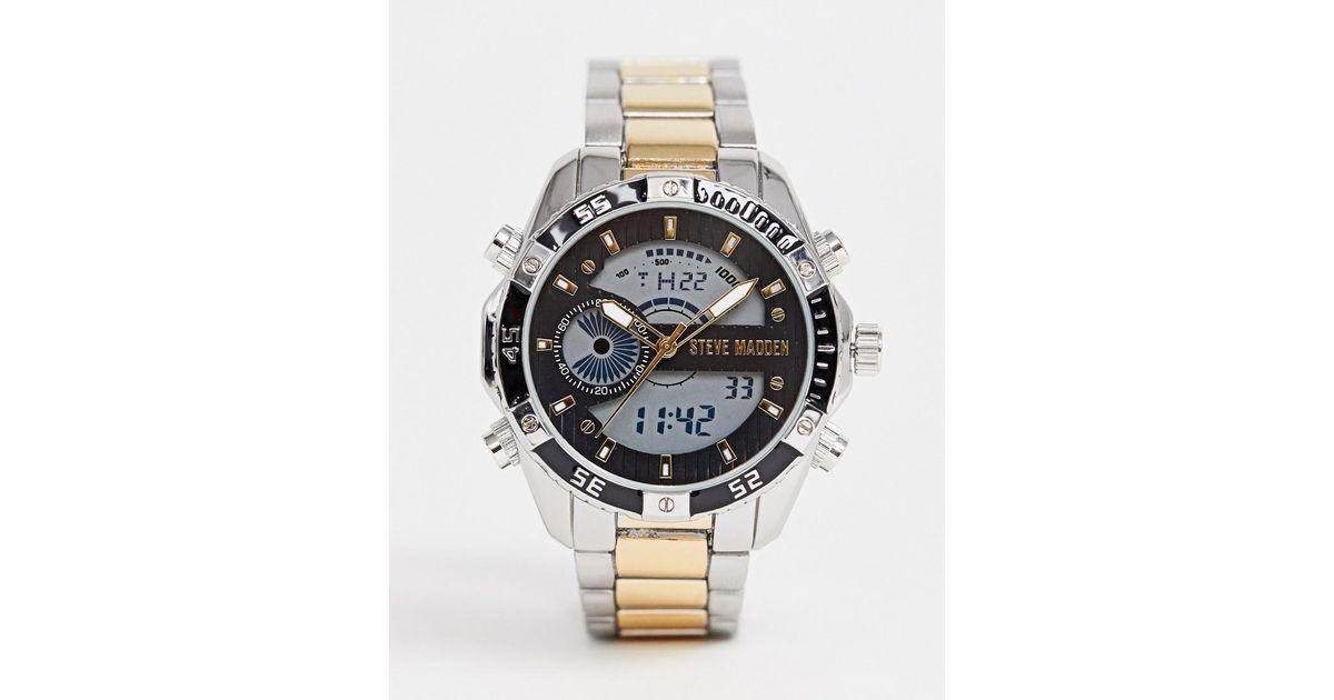 ed172e33524 Lyst - Steve Madden Mens Digital Watch With Gray Dial in Metallic for Men