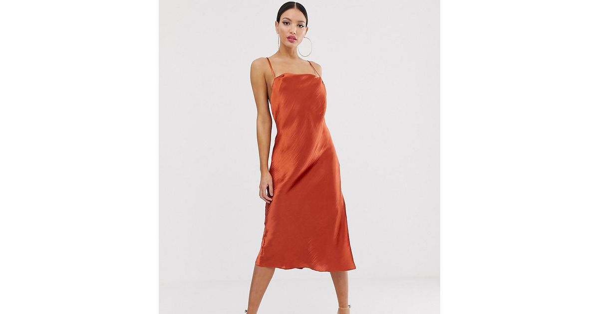 bc4097aa827b0 ASOS Asos Design Tall Cami Slip Midi Dress In High Shine Satin With Strappy  Back in Brown - Lyst