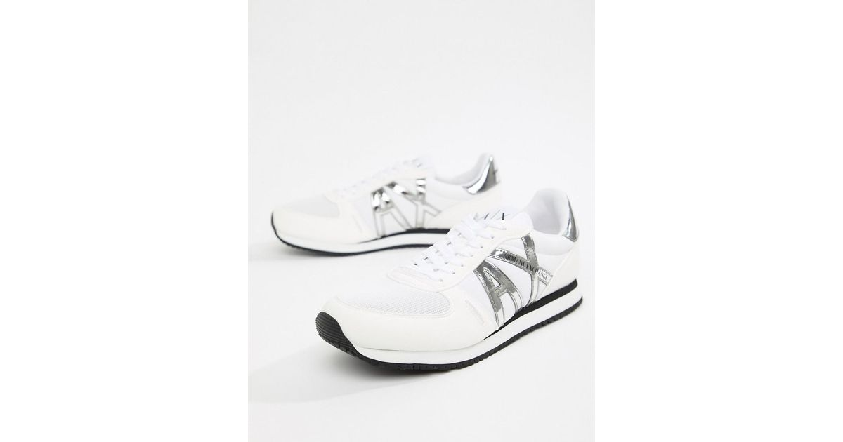 cac1079fa08a Lyst Armani Exchange Ax Logo Sneakers In White In White For Men