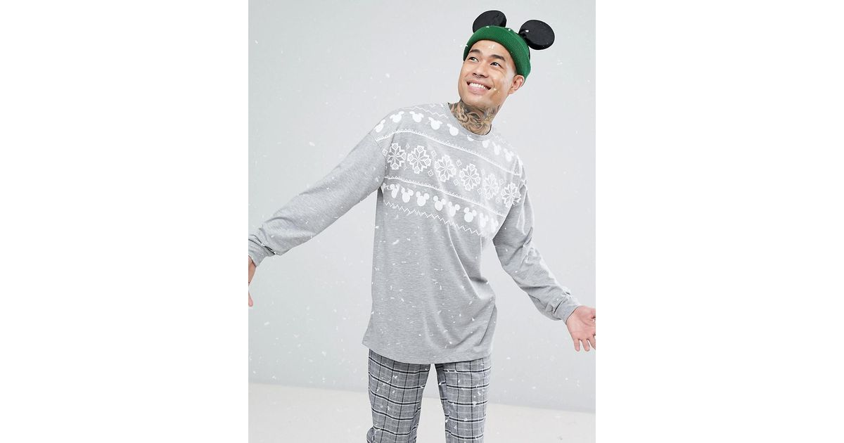 Lyst - Asos Mickey Christmas Oversized Long Sleeve T-shirt With ...