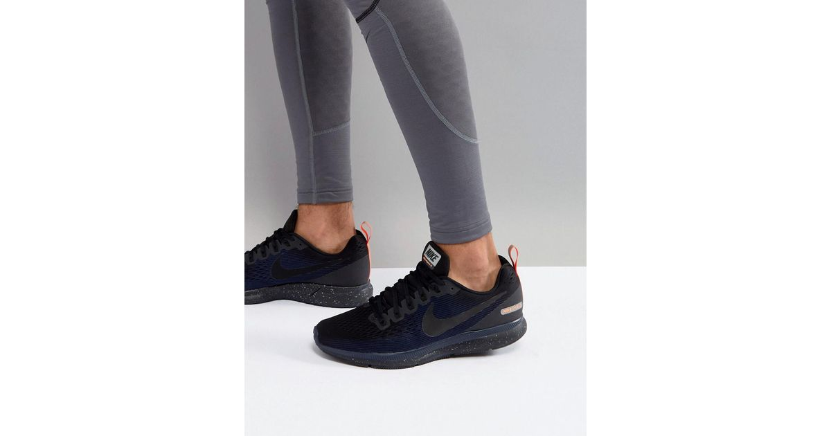 4e13056c187 Nike Air Zoom Pegasus 34 Shield Trainers In Black 907327-001 in Black for  Men - Lyst