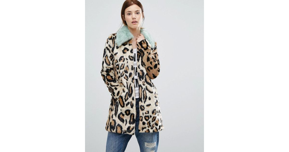 Lyst - Urbancode Faux Fur Leopard Print Coat With Faux Fur Collar in Brown b9c560fc2
