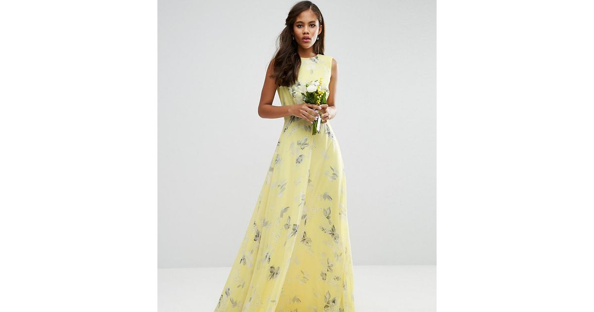 Lyst asos wedding maxi dress in sunshine floral print in for Yellow maxi dress for wedding