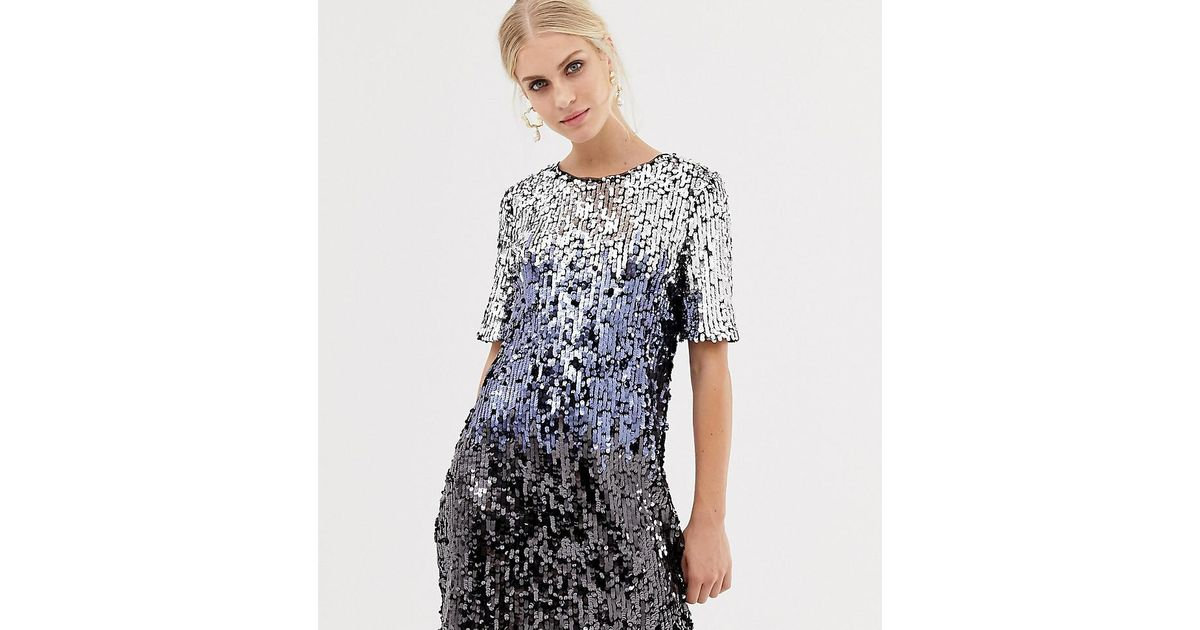 3bfe7adfc2b4 Oasis Sequin T-shirt Dress In Silver Ombre in Blue - Lyst