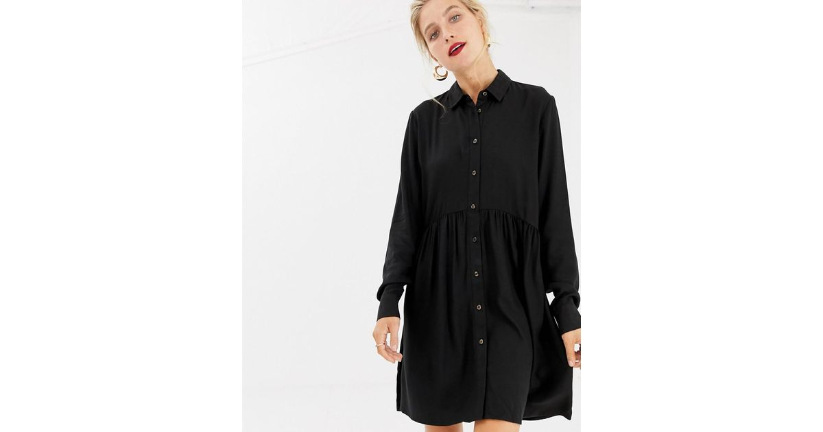 d52bea8f3c8 Lyst - Stradivarius Basic Shirt Dress In Black in Black
