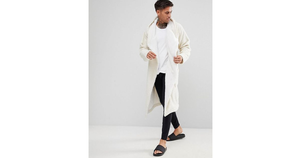 Asos Glitter Fleece Hooded Robe in White for Men - Lyst