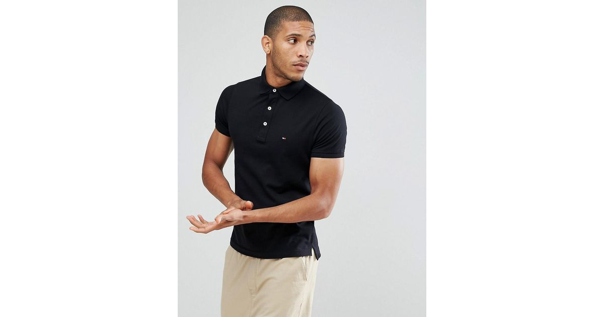 a4848b8e16b7 Tommy Hilfiger Slim Fit Polo In Black in Black for Men - Lyst