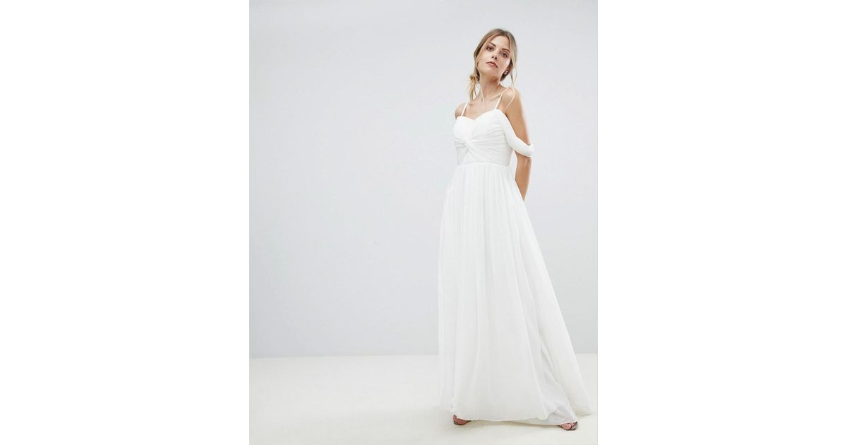 e9197605eae9 Lyst - Y.A.S Floaty Maxi Dress With Cold Shoulder in White