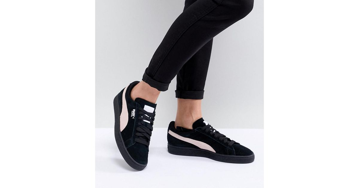 5a9a18e4e23 Lyst - PUMA Suede Classic Trainers In Black With Pink Branding in Black