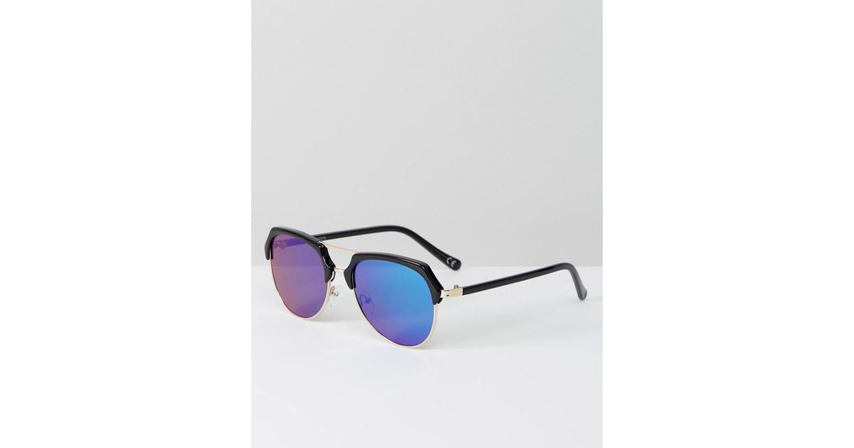 992844848 Lyst - ASOS Aviator Sunglasses In Black With Green Mirror Lens in Black for  Men