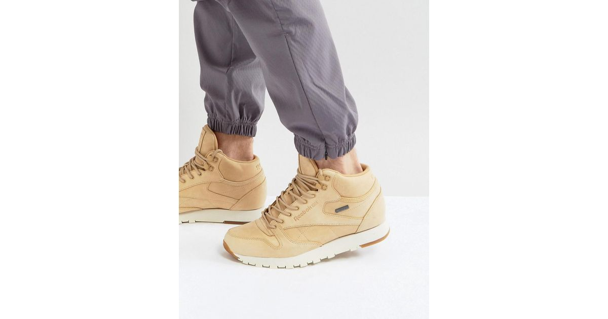 84a9c463ae8 Reebok Classic Leather Mid Gtx Trainers In Tan Bs7882 for Men - Lyst