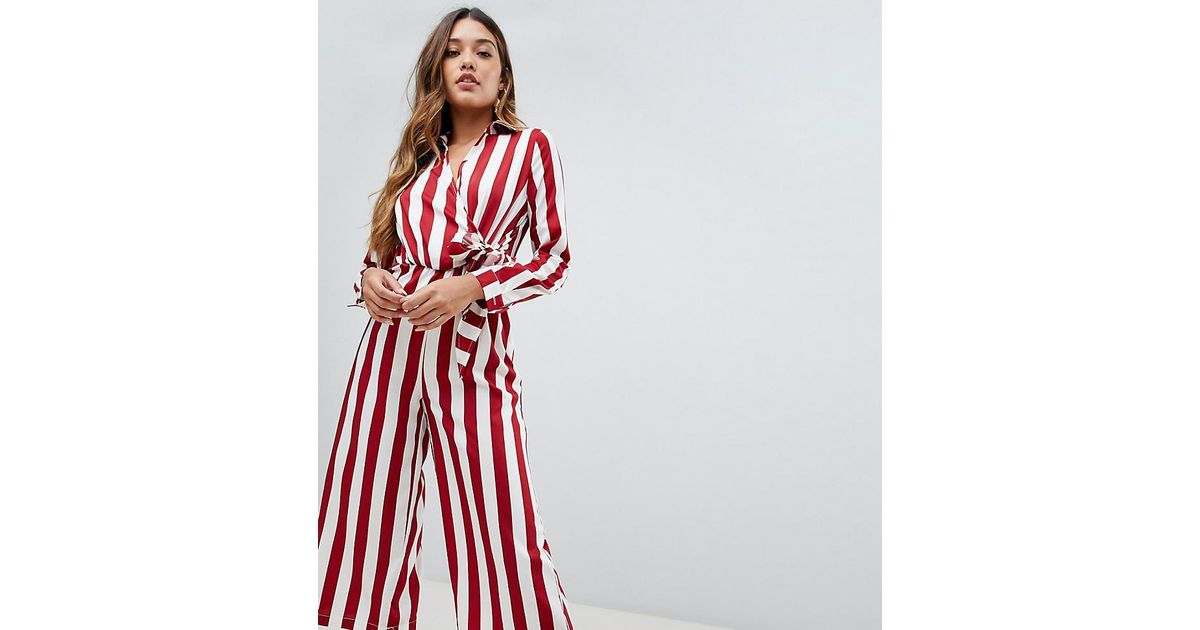 7faa75f25c Boohoo Tie Side Culotte Jumpsuit In Red And White Stripe in Red - Lyst