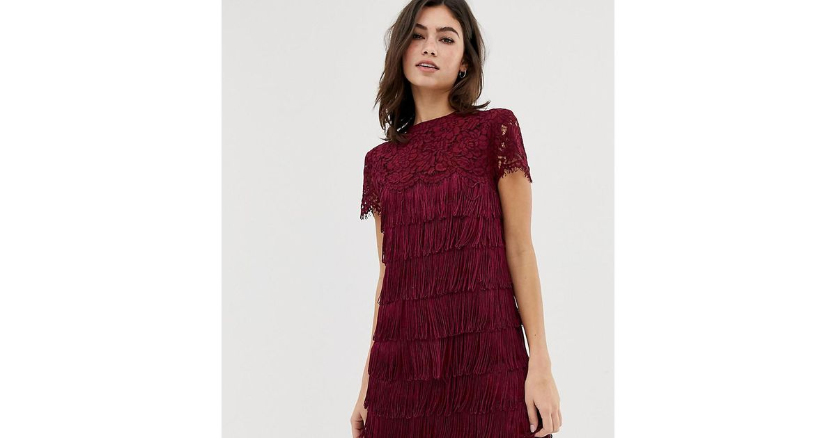 f11f82500a91 Oasis Shift Dress With Lace And Fringing Red in Red - Lyst