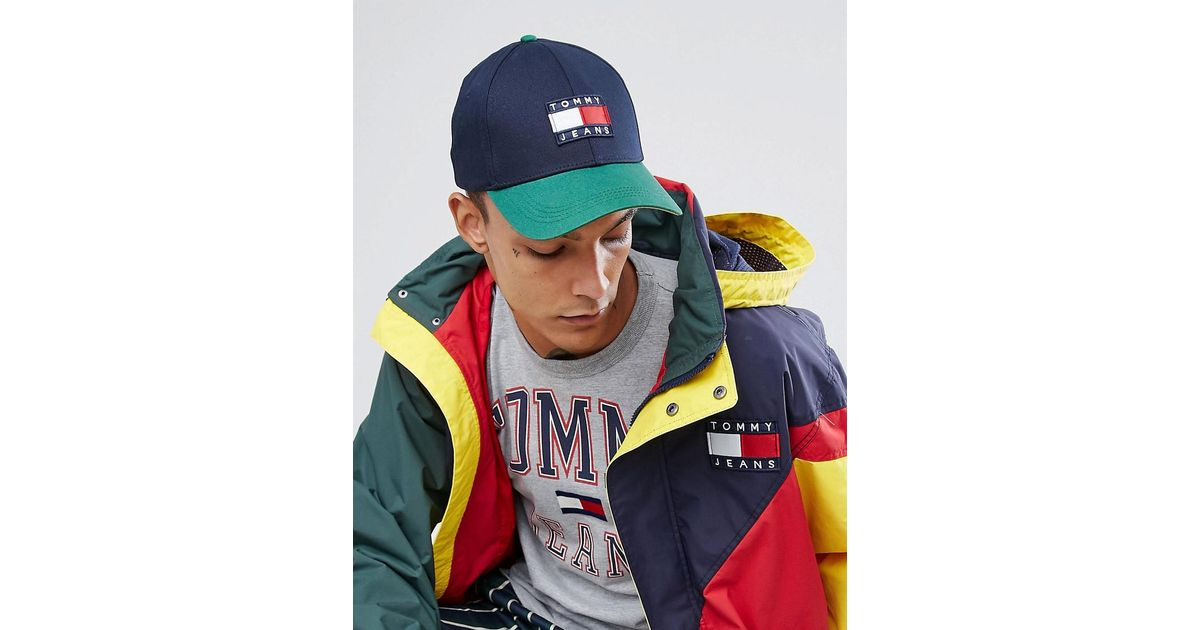 346274a864a20 Hilfiger Denim Tommy Jeans 90 s Capsule Colourblock Baseball Cap In Navy green  in Blue for Men - Lyst