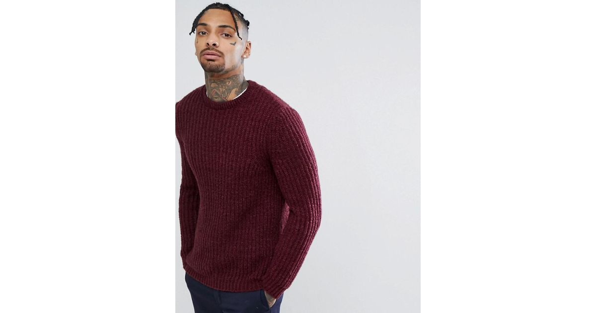 70809ea9825 ASOS Asos Fluffy Fisherman Rib Jumper In Burgundy in Red for Men - Lyst