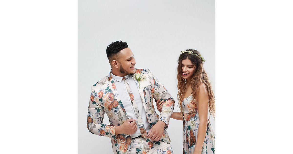 e6c1790bc65c ASOS - Multicolor Asos Plus Wedding Super Skinny Suit Jacket In Champagne  Floral for Men - Lyst