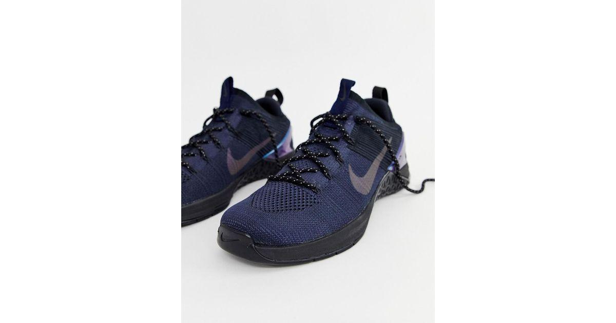 839750f5691eb ... australia nike metcon dsx flyknit sneakers in navy av3839 400 in black  for men lyst 4f955