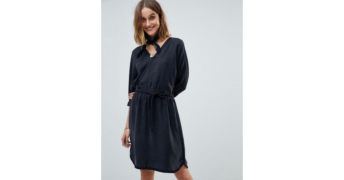 1c77aefd416b Maison Scotch Kimono Inspired Wrap Dress in Black - Lyst