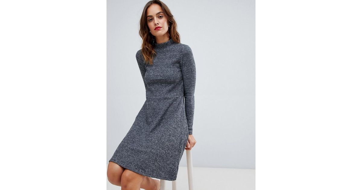 Lyst - Y.A.S Brushed Rib Knitted Skater Dress in Gray 1e724b4e0