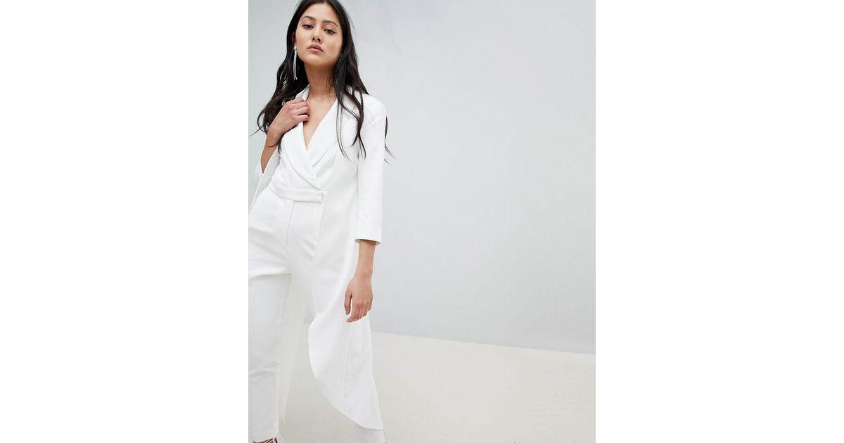 8474a3989a68 Lyst - Lavish Alice Cape Detail Jumpsuit in White