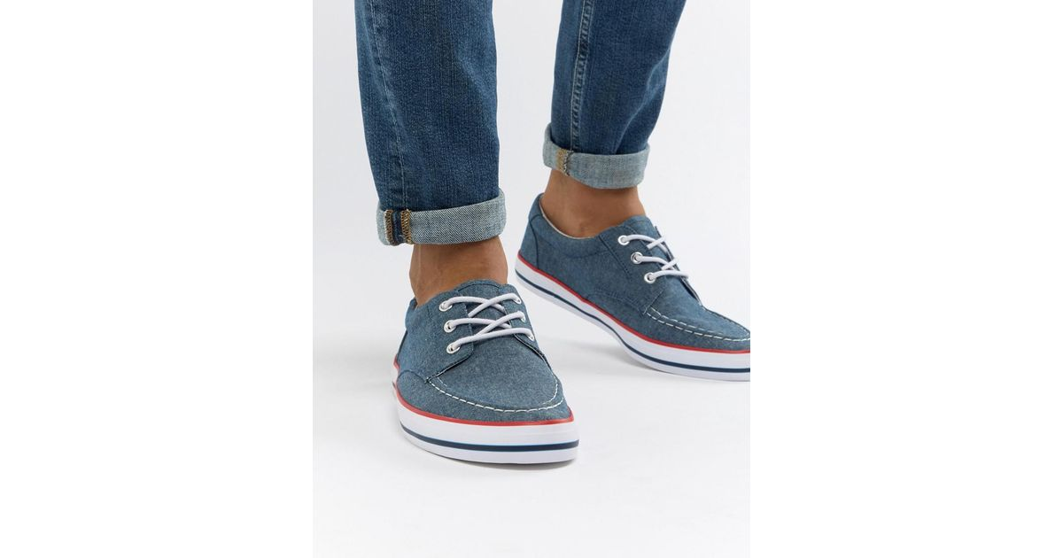 ASOS DESIGN boat shoes in chambray with red and navy detail G8K6gZNsMY