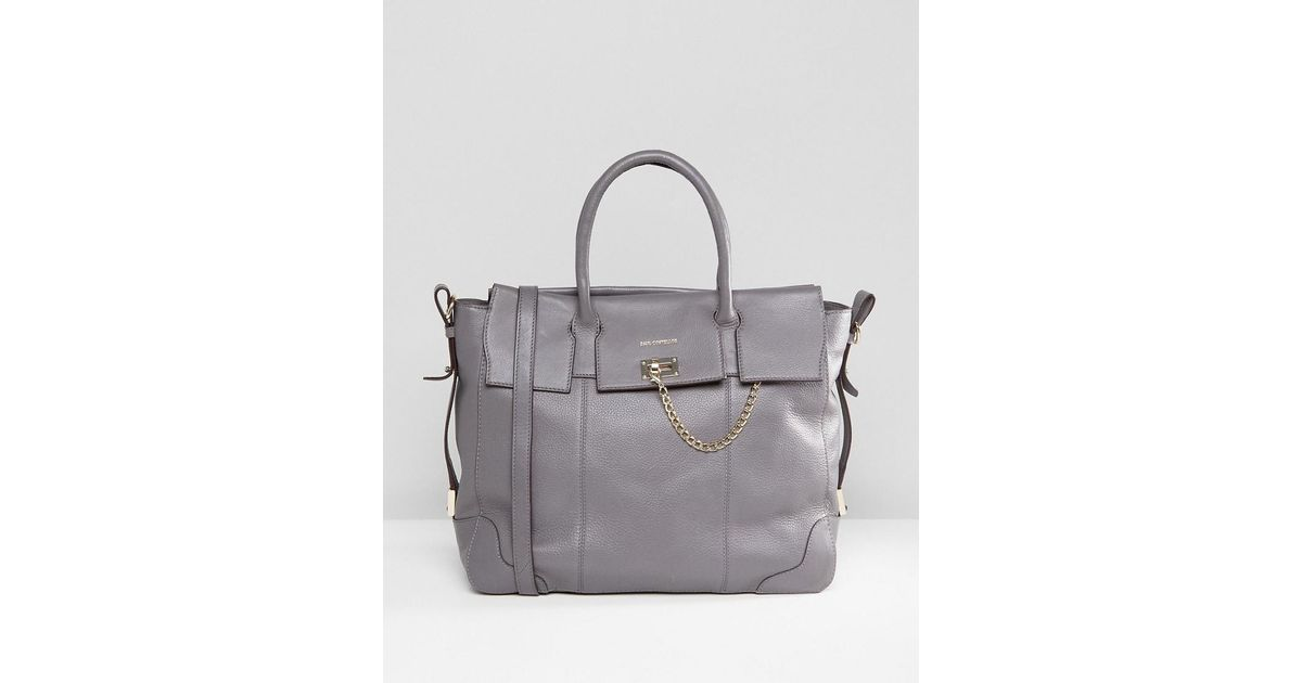 31209603b5dfa Paul Costelloe Real Leather Tote With Fold Over Chain Closure in Gray - Lyst