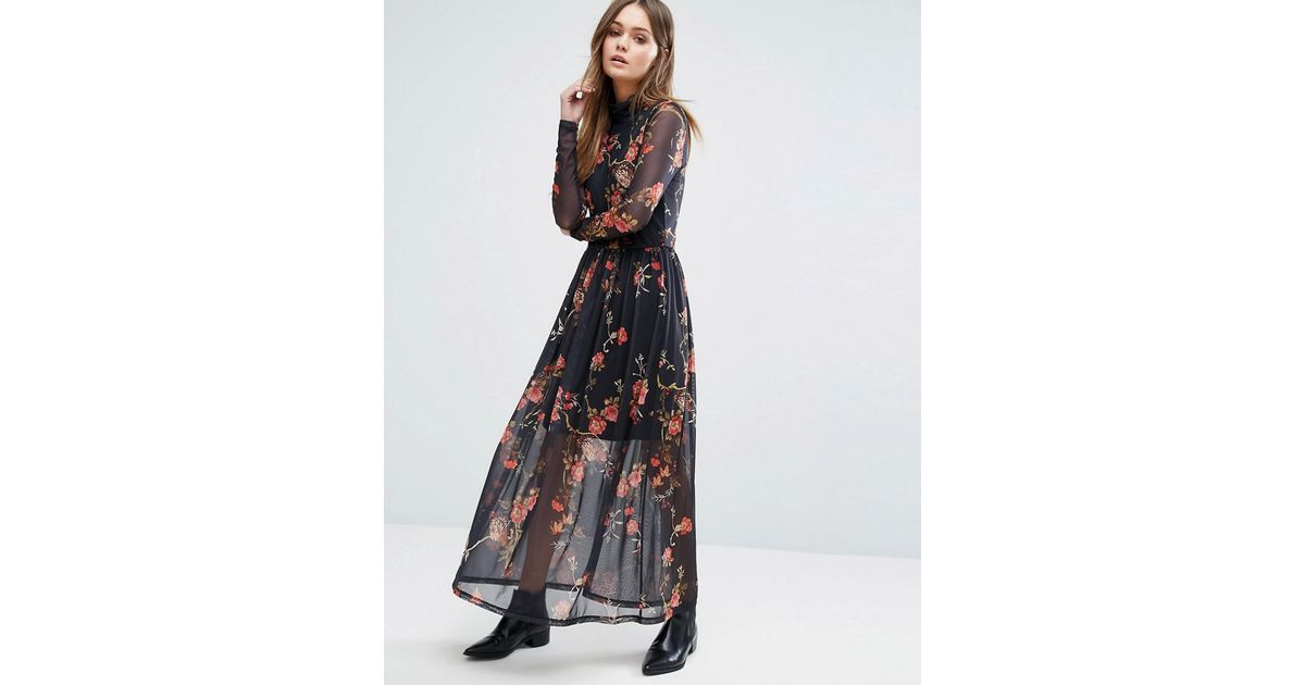 13d3c61a7c7 Vero Moda High Neck Floral Mesh Maxi Dress - Lyst