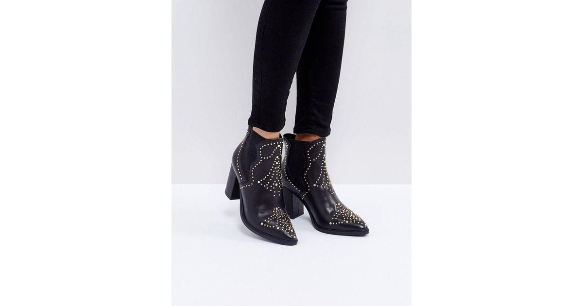 8be9fe7c4c17 Lyst - Steve Madden Himmel Studded Heeled Boots in Black