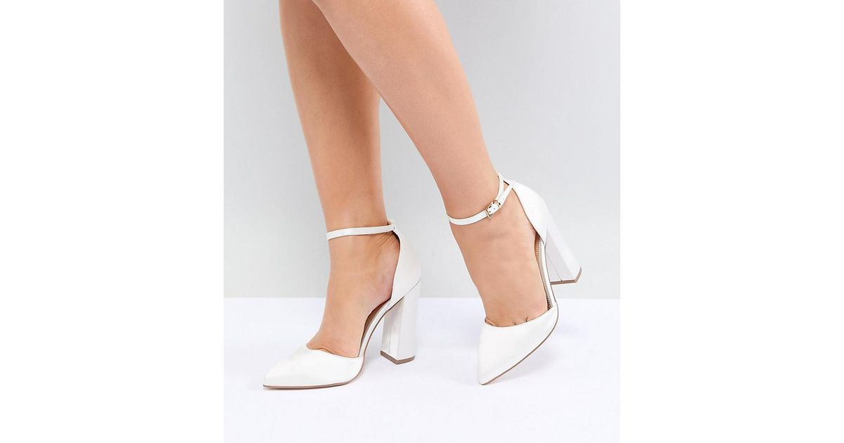 4afc710da23 ASOS Pebble Wide Fit Bridal Pointed High Heels in Natural - Lyst