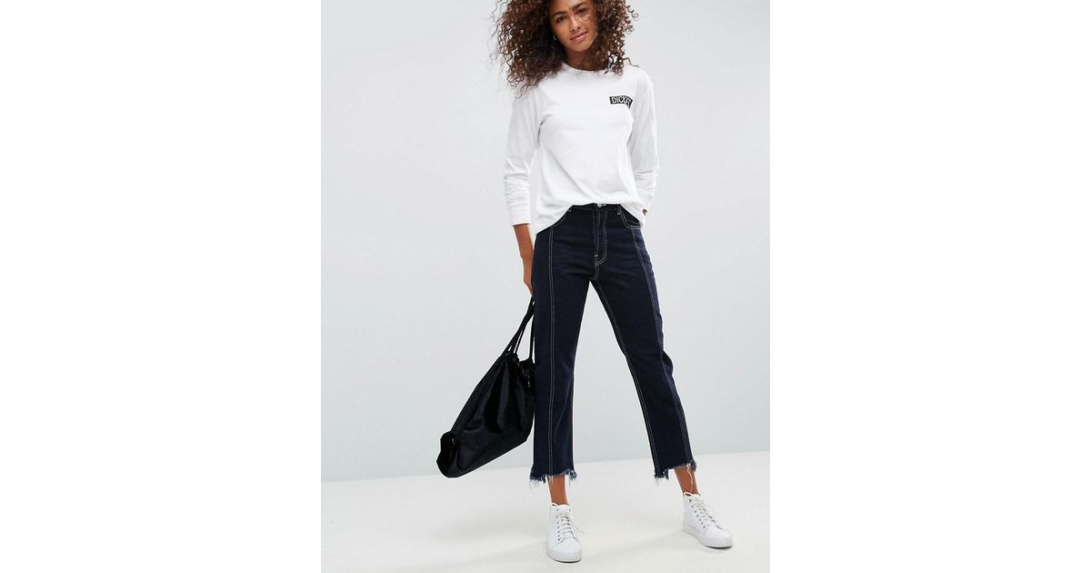 0f8bbc75a4abbb ASOS Asos Authentic Straight Leg Jeans With Vertical Seam In Indigo With A Contrast  Stitch in Blue - Lyst