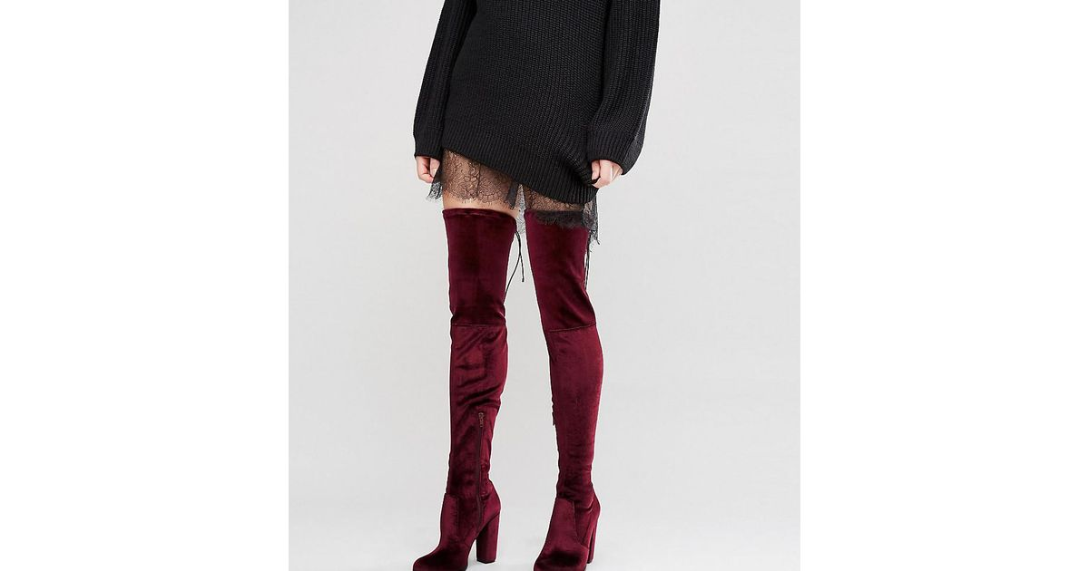 ce938e4964c Lyst - ASOS Kingdom Velvet Heeled Over The Knee Boots in Red