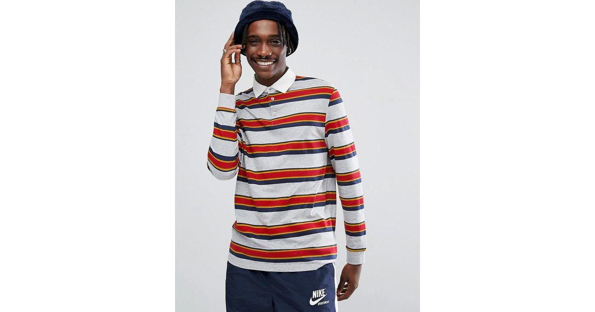 d3c4a2132b Asos Design Relaxed Long Sleeve Rugby Polo Shirt With Retro Stripe in Gray  for Men - Lyst