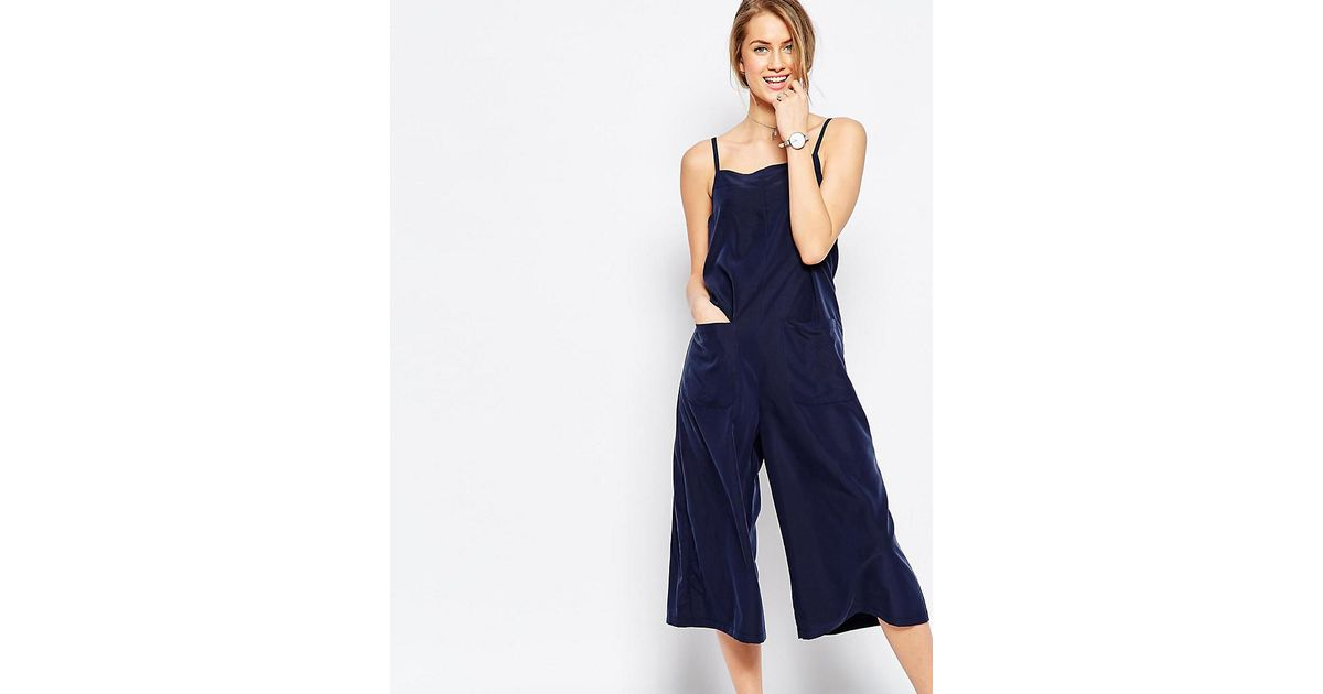 3a304230cb70 Lyst - Asos Cami Jumpsuit With Culotte Leg And Pockets in Blue