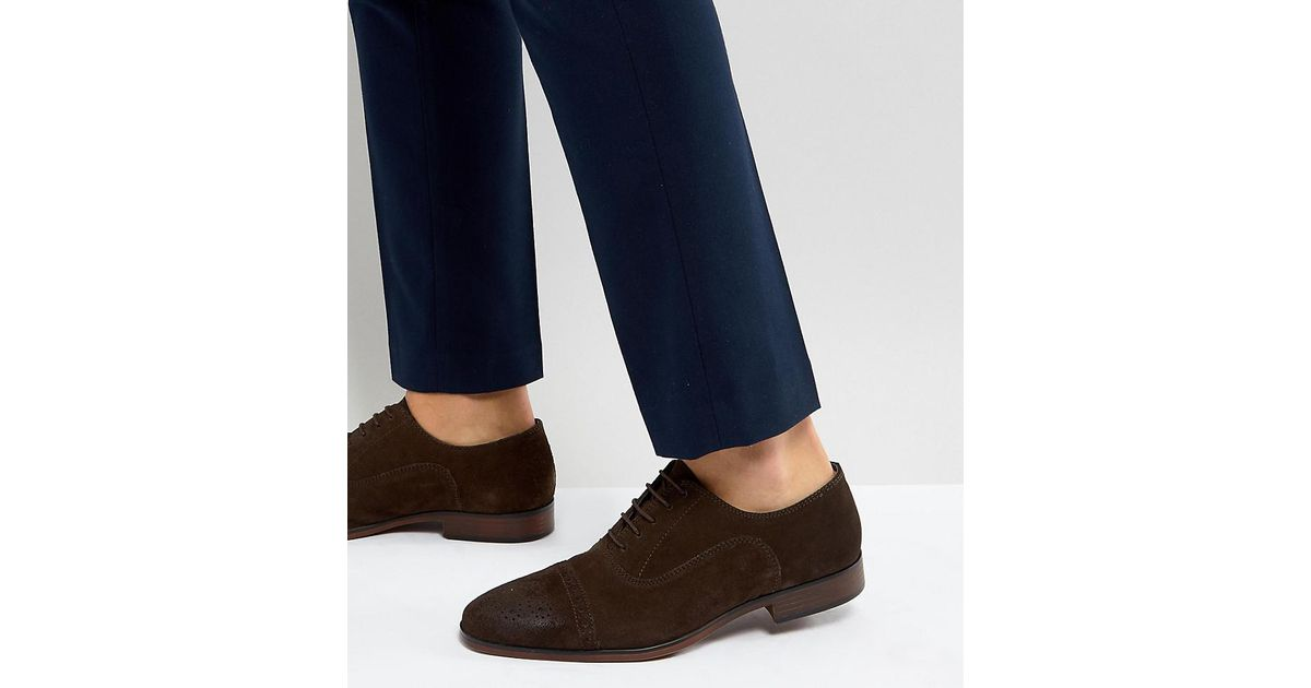 Asos Wide Asos Lyst Brown Brogue Shoes With Suede Fit In Natural w6UOdOqR