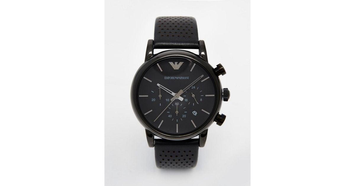 626a4e3b02f4 Lyst - Reloj negro AR1737 de Emporio Armani de hombre de color Negro