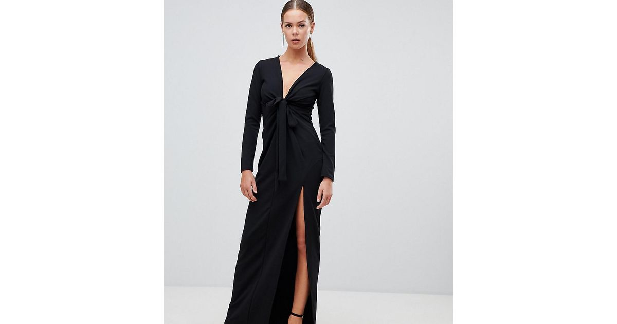7aef79b3eff0 Boohoo Knot Front Plunge Maxi Dress In Black in Black - Lyst
