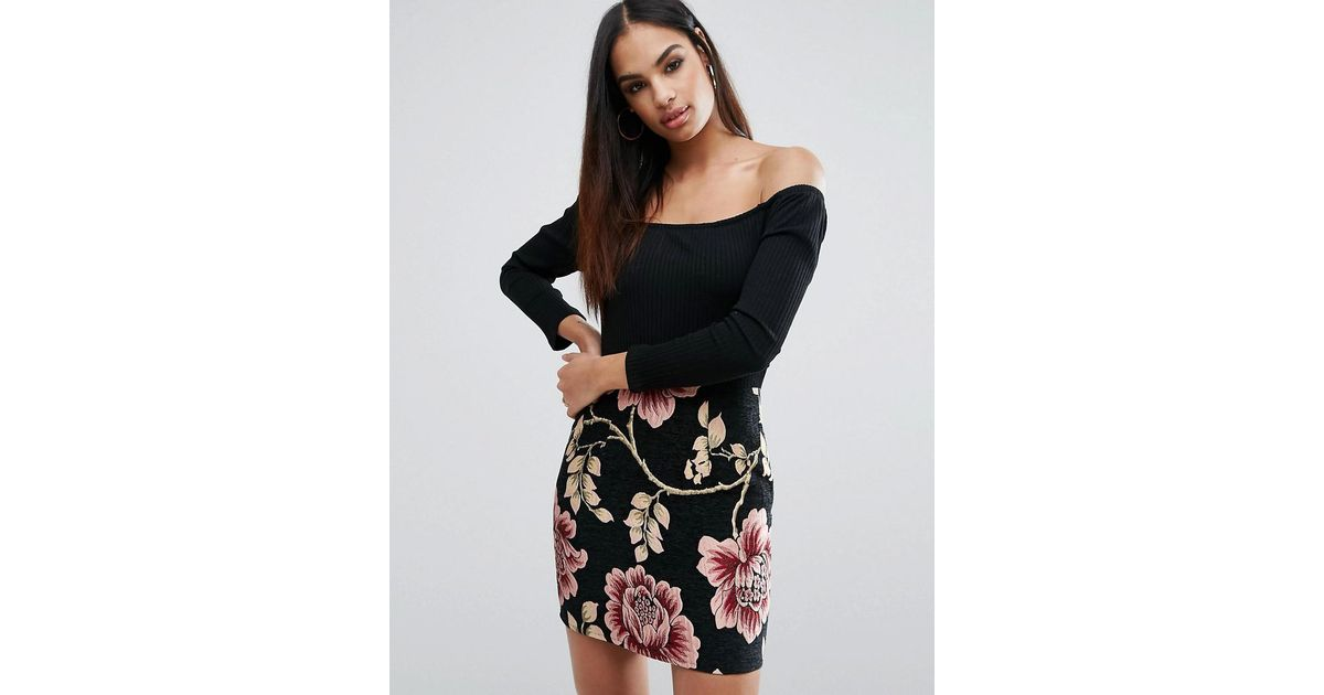 e8b6d259300772 Missguided 2 In 1 Off The Shoulder Dress With Floral Jacquard Skirt in Black  - Lyst