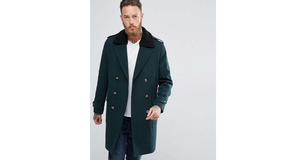 166659f00d2 ASOS Asos Wool Mix Trench Coat With Fleece Collar In Bottle Green in Green  for Men - Lyst