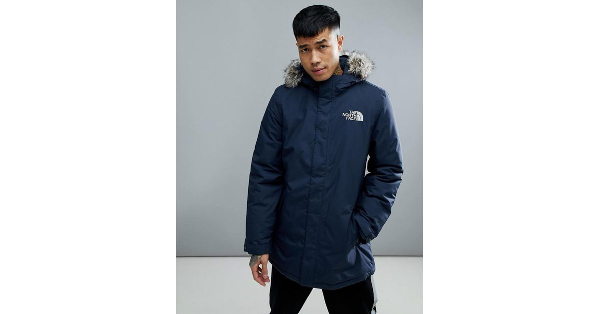 469a8d138c29 Lyst - The North Face Zaneck Detachable Faux Fur Hood Jacket In Navy in  Blue for Men