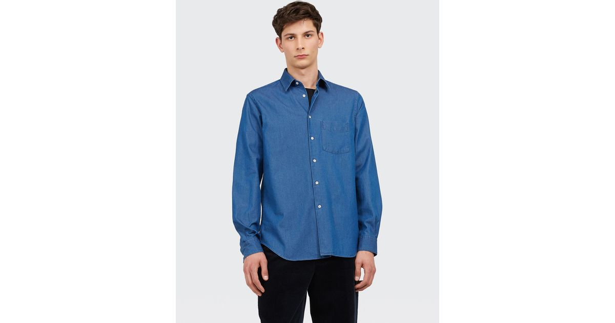 first rate the best los angeles Aspesi Blue Indigo Cotton Shirt for men
