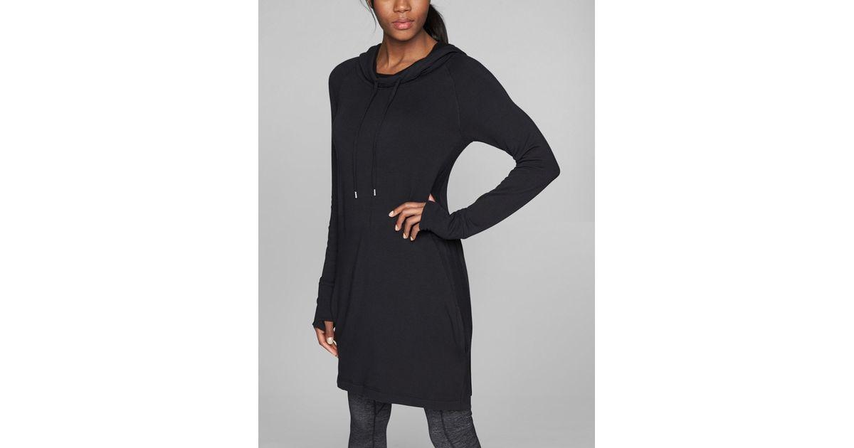 cd5c99dd0b7ec Lyst - Athleta Cowl Lounge Sweatshirt Dress in Black