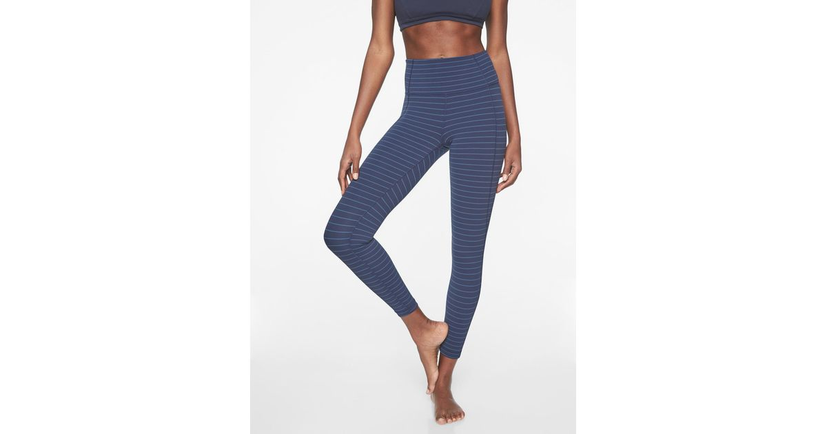 48dcc06d095f3 Lyst - Athleta Stripe Salutation 7/8 Tight In Powervita in Blue