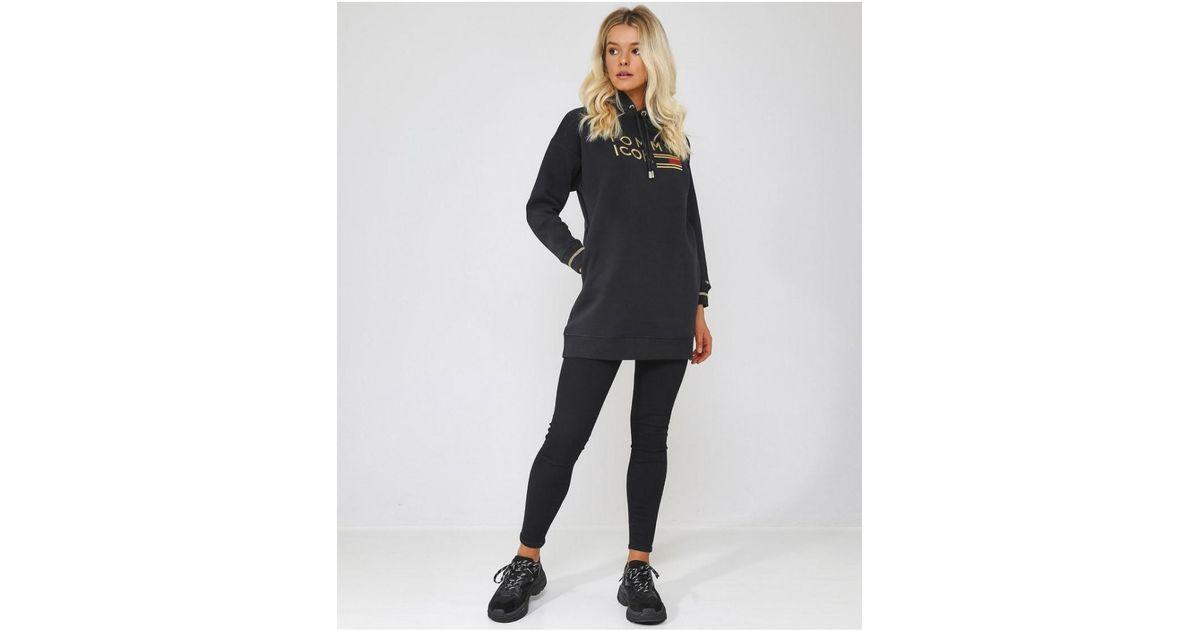 3c503e465ec Tommy Hilfiger Icons Noelle Hoodie Dress in Black - Lyst