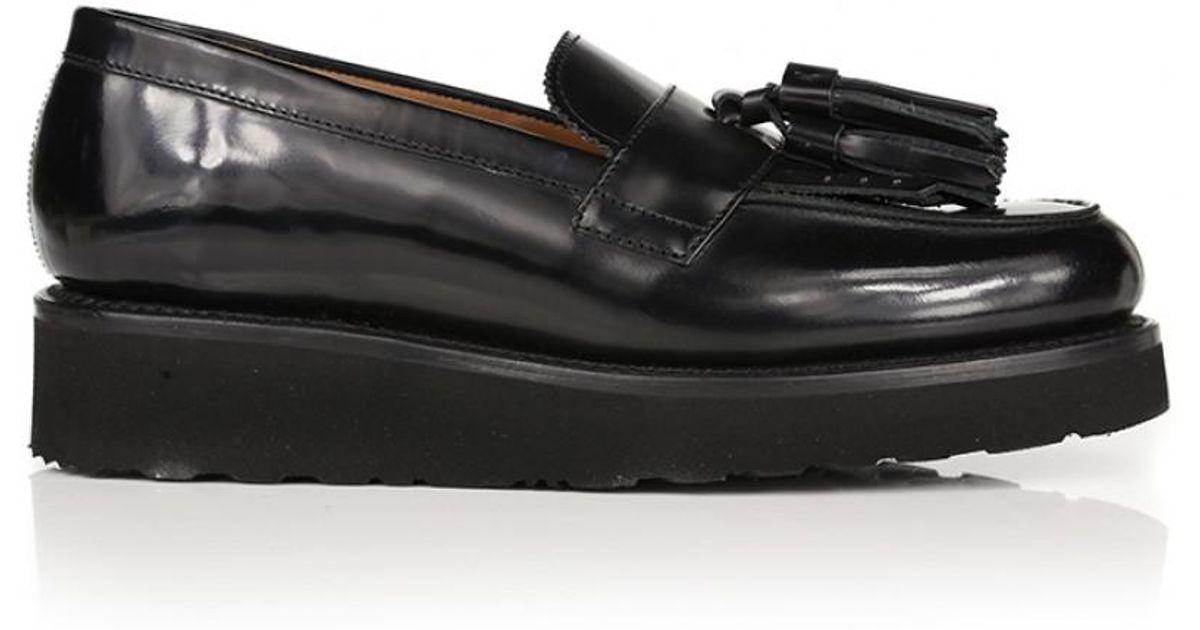 1fd549473c9 Lyst - Grenson Women s Clara Wedge Tassel Loafers in Black