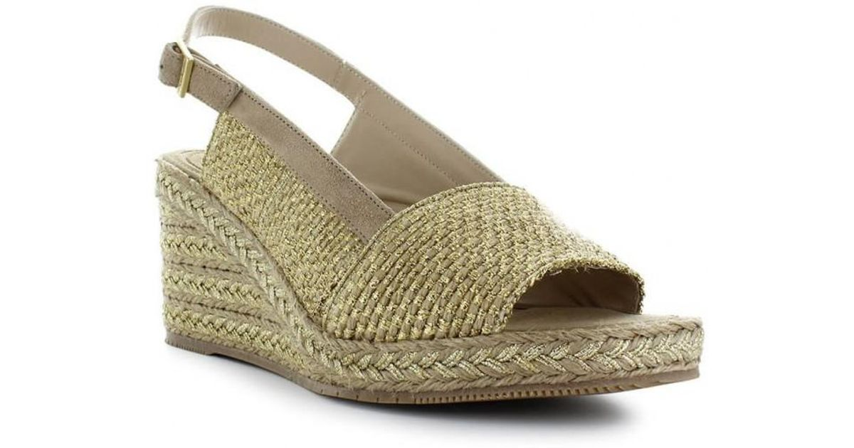 bb455372029a Lyst - Paloma Barceló Paloma Barcelãâ  Aladierno Gold Wedge Sandal 40 in  Metallic
