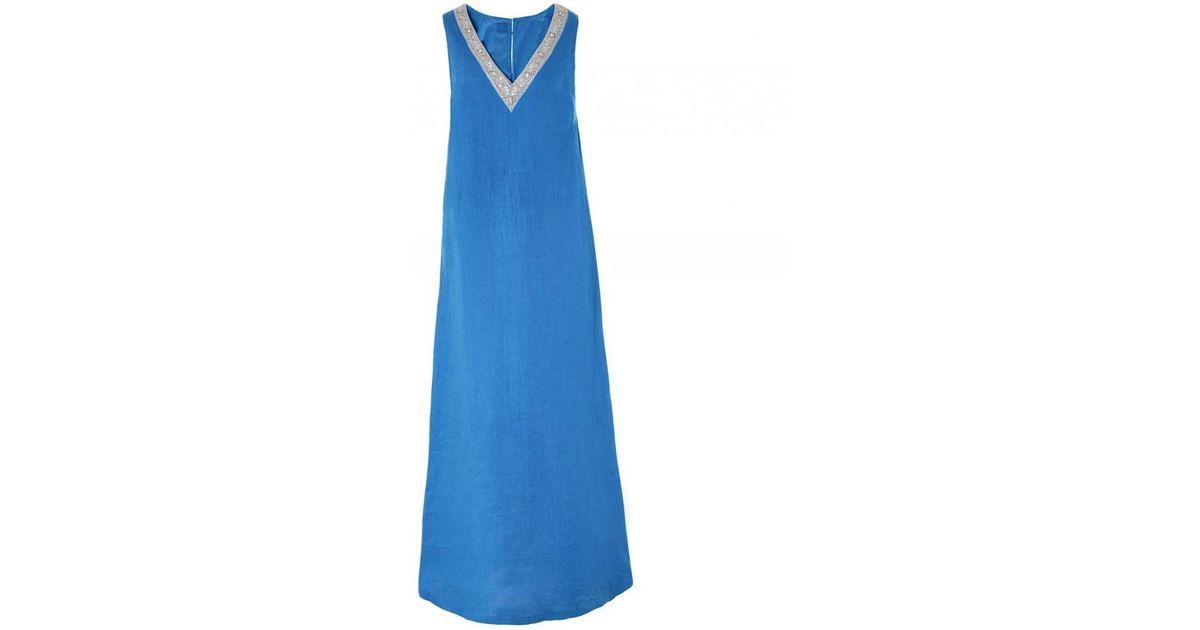 a3f20804fe Lyst - 120% Lino 120% Lino Linen Beaded V Neck Maxi Dress in Blue