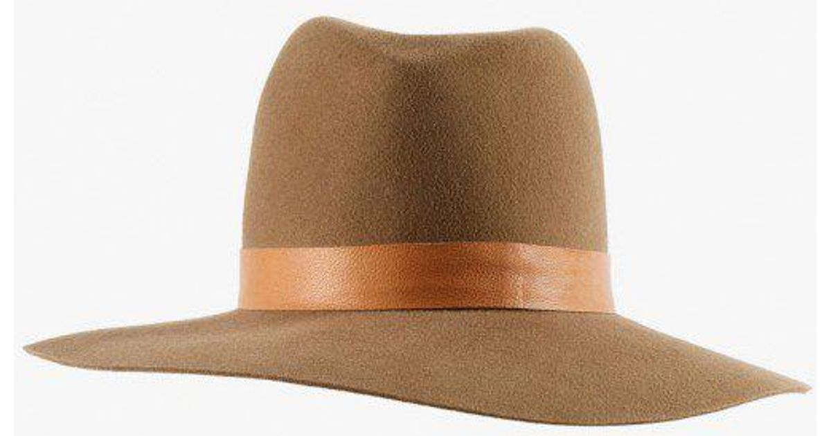 Lyst - Janessa Leone Clay Leather Band Hat in Brown 8e209c58bc7d