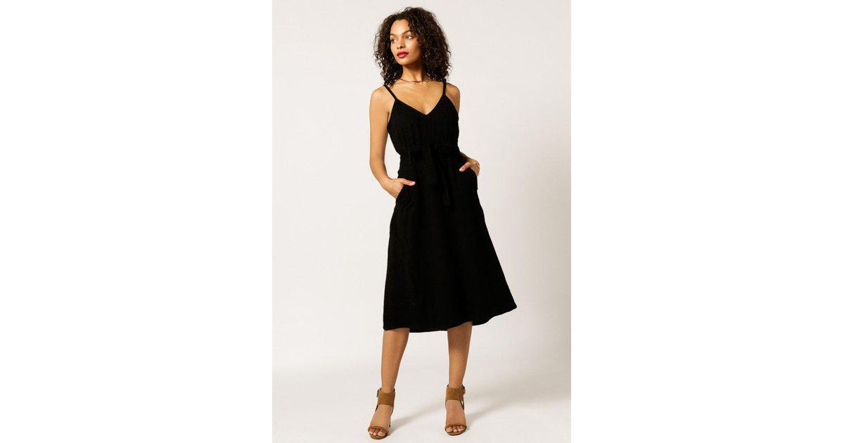 8e9f538df1f Moon River Belted Solid Linen Dress in Black - Lyst