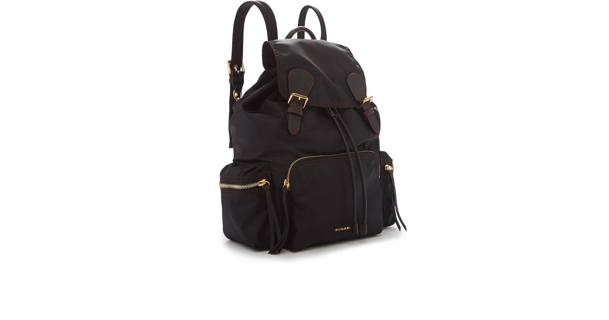 Lyst - Burberry Rucksack In Black And Parade Red Technical Nylon And  Leather in Black f7e5d80225573
