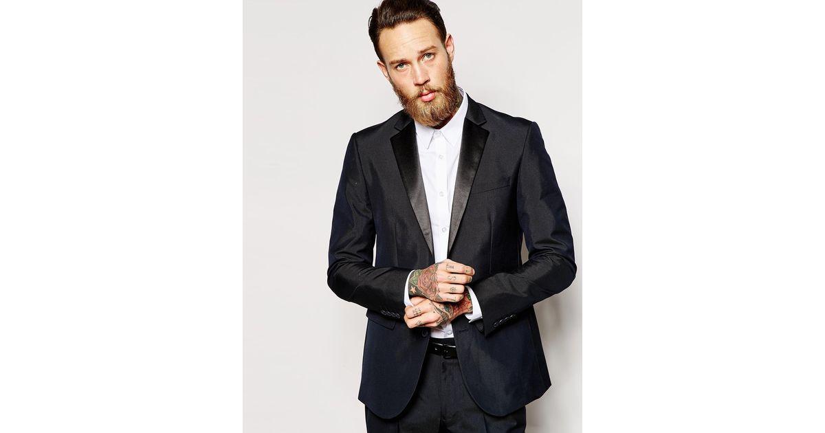 Asos slim fit tuxedo suit jacket in blue for men navy lyst